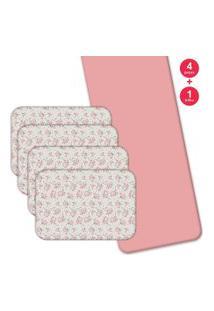 Jogo Americano Love Decor Com Caminho De Mesa Beautiful Flowers Kit Com 4 Pçs + 1 Trilho Rosa