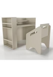 Escrivaninha+Cadeira+Porta-Livros Lumi Cinza Timber - Tricae