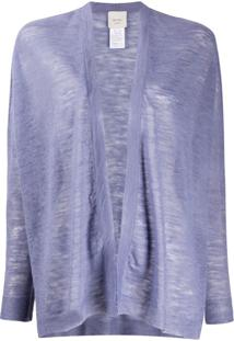 Alysi Semi-Sheer Open Front Cardigan - Roxo