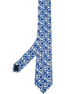 Versace Gravata De Seda Estampada - Azul