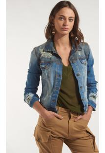 Jaqueta Rosa Chá Megan Jeans Azul Feminina (Jeans Medio, 36)