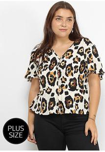 Blusa Lemise Plus Size Animal Print Onça Feminina - Feminino