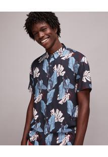 Camisa Masculina Estampada De Folhagem Manga Curta Azul Marinho