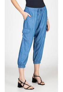Calça Jogger Jeans Leve Cropped Cargo Bloom Feminina - Feminino