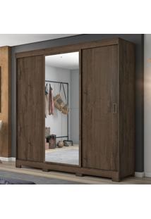 Guarda-Roupa Casal 3 Portas De Correr Com Espelho Nt5020 Café - Notavel
