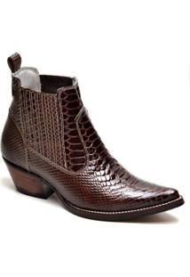 Bota Country Top Franca Shoes Bico Fino Masculina - Masculino-Cafe