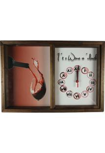 Quadro Relógio Porta Rolhas Vinho Decoração Rustico Art Frame