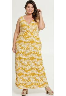 Vestido Feminino Longo Estampa Folhas Plus Size