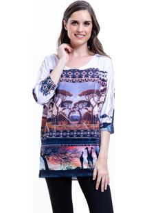 Blusa 101 Resort Wear Tunica Morcego Estampado Animal Print Africa Marrom