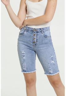 Bermuda Feminina Jeans Destroyed Cintura Média Marisa