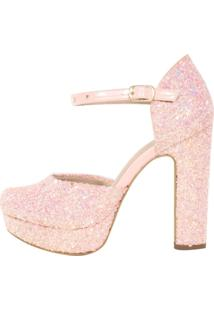 Sandália Salto Week Shoes Grosso Bico Redondo Glitter Rosa