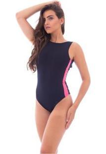 Body Moda Vicio Regata Decote Costas Recorte Lateral - Feminino-Preto+Pink