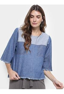 Blusa Jeans Cantão Recortes Feminina - Feminino-Azul Petróleo