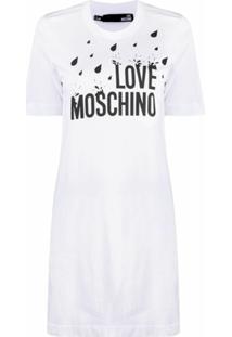 Love Moschino Vestido Mangas Curtas Com Estampa De Logo - Branco