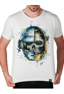 Camiseta Dj Daft Punk Caveira Colorida Branco