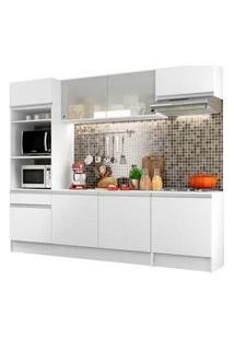 Cozinha Completa Compacta Madesa Topazio Com Armário, Balcão E Tampo Branco