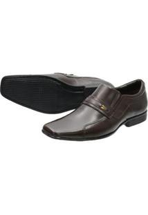 Sapato Social Escrete Em Couro Masculino - Masculino-Marrom