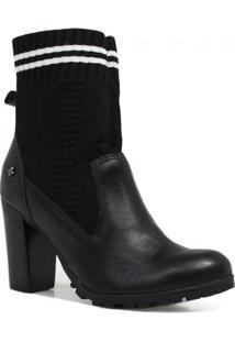 Bota Cravo E Canela Ankle Boot Salto Feminina - Feminino-Preto+Branco