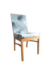 Capa Para Cadeira De Jantar Ajustável Azul Claro Ramos Folhas