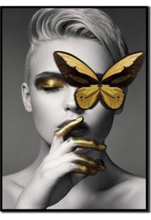 Quadros Decorativo Mulher Borboleta Dourada