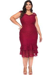 Vestido Almaria Plus Size Pianeta Renda Roxo