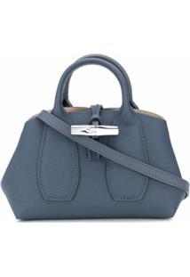 Longchamp Bolsa Transversal Roseau Pequena - Azul