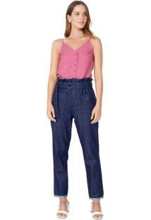 Calça Jeans Reta Com Fivela