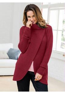 Suéter De Tricô Transpassado Vermelho
