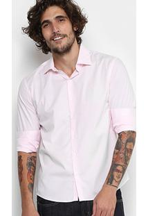 Camisa Ellus Tricoline Italiana Slim Masculina - Masculino-Rosa Claro