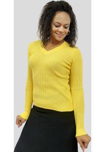 Blusa De Algodão C/ Trança Tomasini Tricot Outono/Inverno 2020 Amarelo