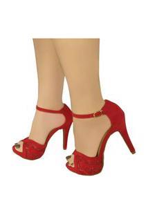 Sandália Salto Alto Bellatotti Serena Rosso Vermelha