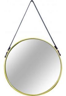 Espelho De Metal Dourado Queen Pequeno 6383 Mart