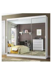 Guarda-Roupa Casal Madesa Veneza 3 Portas De Correr Com Espelho Branco