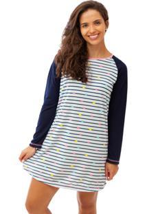 Camisola Mania Pijamas Longa Branco/Azul