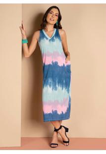 Vestido Tie Dye Azul Midi Com Fendas Laterais