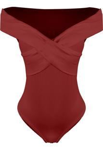 Body Outlet Dri Canelado Detalhe X Ombro A Ombro Costas Fechada Vermelho