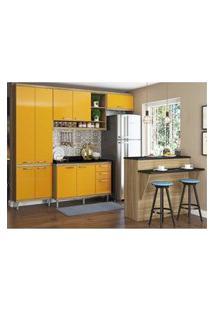 Cozinha Completa Multimóveis Com 6 Peças Sicília 5846 Argila/Amarelo