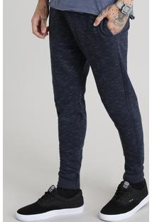 Calça Masculina Jogger Em Moletom Azul Marinho