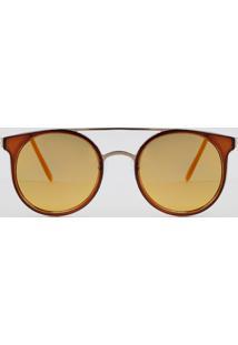 Óculos De Sol Redondo Unissex Oneself Dourado