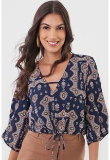 Blusa Maria Filó Argélia Azul-Marinho
