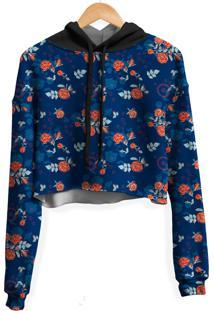 Blusa Cropped Moletom Feminina Over Fame Rosas Dark Blue