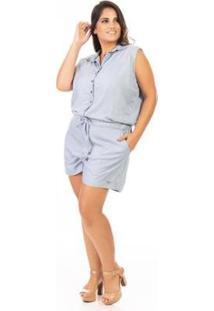 Macacão Jeans Confidencial Extra Plus Size Amarração Feminino - Feminino