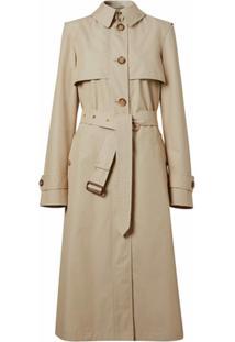 Burberry Trench Coat De Algodã£O Misto Com Cinto - Soft Fawn