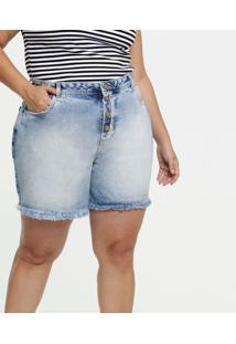 Short Feminino Jeans Botões Plus Size Marisa