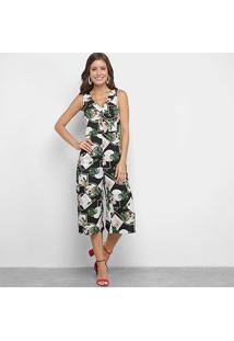 Macacão Lily Fashion Pantacourt Floral Feminino - Feminino-Preto