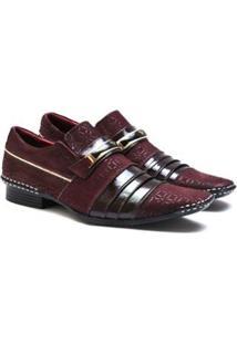 Sapato Social Couro Calvest Verniz Masculino - Masculino-Vermelho