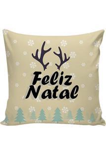 """Capa Para Almofada Em Microfibra """"Feliz Natal""""- Off Whitstm Home"""