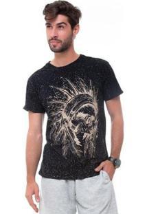 Camiseta D'Affari Estonada Com Estampa Masculino - Masculino-Preto