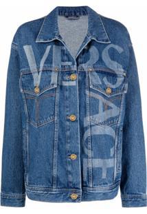 Versace Greca-Trim Logo-Print Denim Jacket - Azul