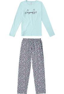 Pijama Azul Happiness Em Malha